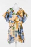 TWINSET ACTITUDE šaty žltomodrý kvet